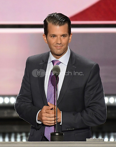 Donald Trump, Jr. makes remarks at the 2016 Republican National Convention held at the Quicken Loans Arena in Cleveland, Ohio on Tuesday, July 19, 2016.<br /> Credit: Ron Sachs / CNP/MediaPunch<br /> (RESTRICTION: NO New York or New Jersey Newspapers or newspapers within a 75 mile radius of New York City)