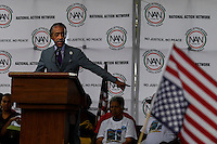 Rev. Al Sharpton speaks to people while they attend a march against police brutality in Staten Island. 08.23.2014. Eduardo Munoz Alvarez/VIEWpress
