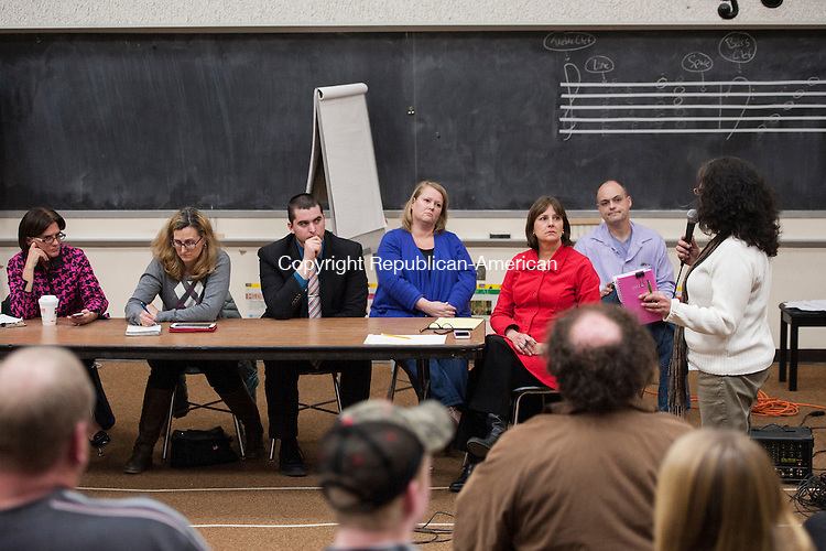 WINSTED, CT-7 April 2015-040715EC02-  A parent speaks during a Winchester Board of Education meeting to discuss whether students should have another option outside of The Gilbert School. Tuesday night's meeting was at the Pearson School auditorium. Erin Covey Republican-American