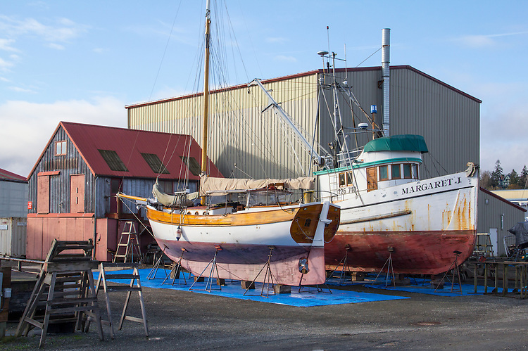 Port Townsend, Boat Haven, classic wooden sloop Lilli Danser, salmon seiner, Margaret J, on the hard for repairs, restoration, Port of Port Townsend, Jefferson County, Olympic Peninsula, Puget Sound, Washington State, Pacific Northwest, USA,