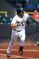 Clinton LumberKings catcher Adam Martin (27) runs to first during a game against the Great Lakes Loons on August 16, 2015 at Ashford University Field in Clinton, Iowa.  Great Lakes defeated Clinton 3-2.  (Mike Janes/Four Seam Images)