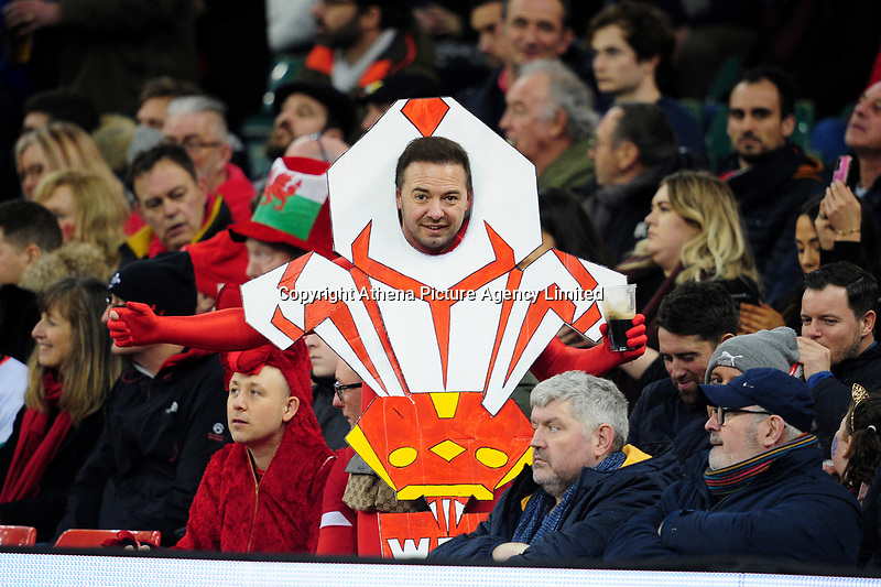 A welsh fan in action during the Guinness Six Nations Championship Round 3 match between Wales and France at the Principality Stadium in Cardiff, Wales, UK. Saturday 22 February 2020