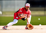 27 February 2017: Washington Nationals infielder Wilmer Difo takes infield practice during a Spring Training workout at the Ballpark of the Palm Beaches in West Palm Beach, Florida. Mandatory Credit: Ed Wolfstein Photo *** RAW (NEF) Image File Available ***