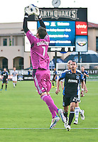 SANTA CLARA, CA – July 12, 2011: San Jose Earthquakes goalie David Bingham (1) during the match between San Jose Earthquakes and West Bromwich Albion at the Buck Shaw Stadium in Santa Clara, California. Final score San Jose Earthquakes 2, West Bromwich Albion FC 1.