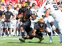 College Park, MD - SEPT 23, 2017: Maryland Terrapins quarterback Kasim Hill (11) runs the ball during game between Maryland and UCF at Capital One Field at Maryland Stadium in College Park, MD. (Photo by Phil Peters/Media Images International)