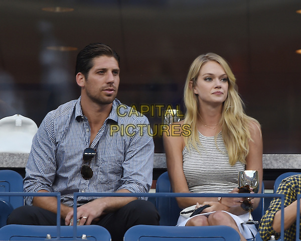 FLUSHING NY- AUGUST 28: Lindsay Ellingson is seen watching Andy Murray Vs Mathias Bachinger on Arthur Ashe Stadium at the USTA Billie Jean King National Tennis Center on August 28, 2014 inFlushing Queens. <br /> CAP/MPI/mpi04<br /> &copy;mpi04/MediaPunch/Capital Pictures