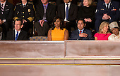 Empty seat next to first lady Michelle Obama honoring those who have been murdered by gun violence during United States President Barack Obama's final State of the Union Address in the US House Chamber in the US Capitol on Tuesday, January 12, 2016.<br /> Credit: Ron Sachs / CNP<br /> (RESTRICTION: NO New York or New Jersey Newspapers or newspapers within a 75 mile radius of New York City)