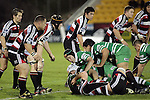 The Steelers line-up to defend as Manawatu recycle ruck ball during the Air New Zealand rugby game between Counties Manukau Steelers & Manawatu, played at Mt Smart Stadium on the 22nd of September 2006. Counties Manukau 25 - Manawatu 25.
