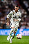 Sergio Ramos of Real Madrid in action during their La Liga  2018-19 match between Real Madrid CF and Atletico de Madrid at Santiago Bernabeu on September 29 2018 in Madrid, Spain. Photo by Diego Souto / Power Sport Images