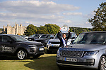 Stamford, Lincolnshire, United Kingdom, 8th September 2019, Pippa Funnell displays the Land Rover Perpetual Trophy in front of Burghley House after winning the 2019 Land Rover Burghley Horse Trials, Credit: Jonathan Clarke/JPC Images