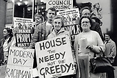 """Council tenants protest against Westminster City Council's decision to sell off half of its housing stock to """"designated"""" buyers."""