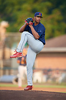 State College Spikes starting pitcher Johan Oviedo (54) delivers a pitch during a game against the Auburn Doubledays on August 21, 2017 at Falcon Park in Auburn, New York.  Auburn defeated State College 6-1.  (Mike Janes/Four Seam Images)