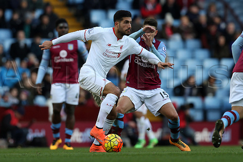 14.02.2016. Villa Park, Birmingham, England. Barclays Premier League. Aston Villa versus Liverpool.<br /> Emre Can of Liverpool in action