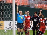 Jasen Anno, red card. D.C. United tied Toronto FC, 3-3, during the game at RFK Stadium in Washington, DC.