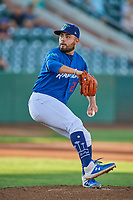 Ogden Raptors starting pitcher Antonio Hernandez (27) delivers a pitch to the plate against the Orem Owlz at Lindquist Field on September 3, 2019 in Ogden, Utah. The Raptors defeated the Owlz 12-0. (Stephen Smith/Four Seam Images)