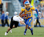 BROOKINGS, SD - SEPTEMBER 20:  Trevor Wesley #80 from South Dakota State gets a step past Anthony Fassett #25 from Wisconsin-Oshkosh in the first half of their game Saturday at Coughlin Alumni Stadium in Brookings. (Photo/Dave Eggen/Inertia)