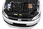 High angle engine detail of a  2013 Volkswagen Jetta Comfortline Hybrid Sedan2013 Volkswagen Jetta Comfortline Hybrid Sedan