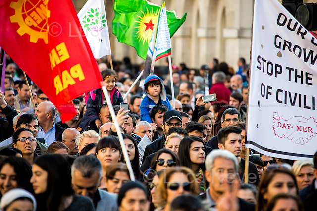 London, 11/10/2015. Today, several thousand Turkish and Kurdish people united held a demonstration outside N.10 Downing Street, and subsequently marched to the BBC HQ in Portland place. The demonstration was called against the bombing attack at a peace protest in Ankara on the 10 October 2015 were more than 100 innocent people were killed and more than 500 people were seriously injured. From the organiser Facebook page: &lt;&lt;[&hellip;] We demand peace. We are gathering in London for a solidarity protest with those killed and those who stand for peace in Turkey. End state terror now! Unite against State terror!&gt;&gt;.<br /> <br /> For more information please click here: http://on.fb.me/1hzJH9N