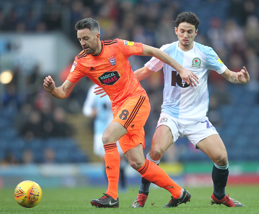 Blackburn Rovers Hope Akpan battles with  Ipswich Town's Cole Skuse<br /> <br /> Photographer Mick Walker/CameraSport<br /> <br /> The EFL Sky Bet Championship - Blackburn Rovers v Ipswich Town - Saturday 19 January 2019 - Ewood Park - Blackburn<br /> <br /> World Copyright © 2019 CameraSport. All rights reserved. 43 Linden Ave. Countesthorpe. Leicester. England. LE8 5PG - Tel: +44 (0) 116 277 4147 - admin@camerasport.com - www.camerasport.com