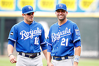 Kansas City Royals outfielder Jeff Franceur #21 and Mitch Maier #12 before a game against the Chicago White Sox at U.S. Cellular Field on August 14, 2011 in Chicago, Illinois.  Chicago defeated Kansas City 6-2.  (Mike Janes/Four Seam Images)