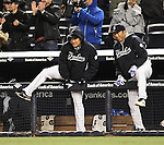 Masahiro Tanaka, Hiroki Kuroda (Yankees),<br /> APRIL 16, 2014 - MLB : (L-R) Masahiro Tanaka and Hiroki Kuroda of the New York Yankees celebrate after winning the Major League Baseball interleague doubleheader game 2 against the Chicago Cubs at Yankee Stadium in the Bronx, NY, USA.<br /> (Photo by AFLO)