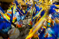 The drums section of a samba school performs during the Carnival Access Group parade at the Sambadrome in Rio de Janeiro, Brazil, 22 February 2012. The Carnival in Rio de Janeiro, considered the biggest carnival in the world, is a colorful, four day celebration, taking place every year forty days before Easter. The Samba school parades, featuring thousands of dancers, imaginative costumes and elaborate floats, are held on the Sambadrome, a purpose-built stadium in downtown Rio. According to costumes, flow, theme, band music quality and performance, a single school is declared the winner of the competition.