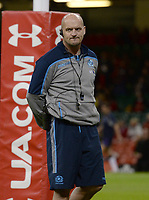 Scotland's Head Coach Gregor Townsend during the pre match warm up<br /> <br /> Photographer Ian Cook/CameraSport<br /> <br /> Under Armour Series Autumn Internationals - Wales v Scotland - Saturday 3rd November 2018 - Principality Stadium - Cardiff<br /> <br /> World Copyright © 2018 CameraSport. All rights reserved. 43 Linden Ave. Countesthorpe. Leicester. England. LE8 5PG - Tel: +44 (0) 116 277 4147 - admin@camerasport.com - www.camerasport.com