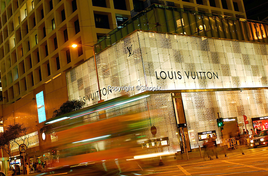 The bright and eye-catching Louis Vuitton store in front of The Landmark in Central, Hong Kong. Many high-end fashion like Christian Dior, Versace, etc are situated near The Landmark..