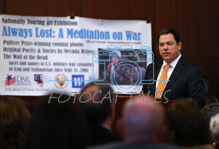 Nevada Senate Majority Leader Michael Roberson, R-Henderson, speaks at the opening ceremony of the Always Lost: A Meditation on War exhibit at the Legislative Building in Carson City, Nev., on Monday, April 6, 2015. <br /> Photo by Cathleen Allison/Nevada Photo Source