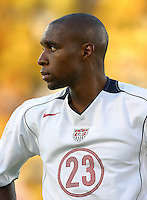 Eddie Pope gazes at the crowd before the start of the USA vs Jamaica match at National Stadium, in Kingston, Jamaica, Wednesday, Aug. 18, 2004. Tie game 1-1.