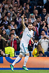 Karim Benzema of Real Madrid celebrates his second goal during the UEFA Champions League Semi-final 2nd leg match between Real Madrid and Bayern Munich at the Estadio Santiago Bernabeu on May 01 2018 in Madrid, Spain. Photo by Diego Souto / Power Sport Images