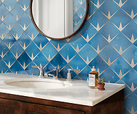 Byron, a waterjet stone mosaic, shown in Cornflower Basalto and brushed Aluminum, is part of the Bright Young Things™ collection by New Ravenna.