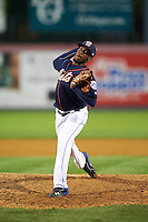 Binghamton Mets pitcher Akeel Morris (32) delivers a pitch during a game against the Trenton Thunder on August 8, 2015 at NYSEG Stadium in Binghamton, New York.  Trenton defeated Binghamton 4-2.  (Mike Janes/Four Seam Images)