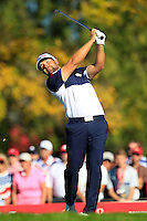 Ryan Moore (Team USA) on the 17th tee during Sunday Singles matches at the Ryder Cup, Hazeltine National Golf Club, Chaska, Minnesota, USA.  02/10/2016<br /> Picture: Golffile | Fran Caffrey<br /> <br /> <br /> All photo usage must carry mandatory copyright credit (&copy; Golffile | Fran Caffrey)