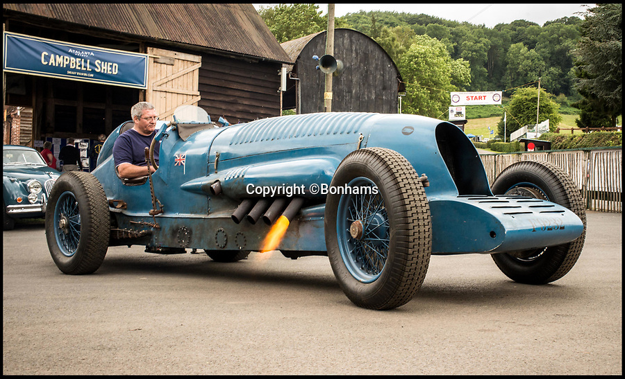 BNPS.co.uk (01202 558833)<br /> Pic: Bonhams/BNPS<br /> <br /> A replica of the land speed record Blue Bird race car - that can go faster than the original - is expected to race away at auction for &pound;300,000. <br /> <br /> The motor is an homage to the illustrious Napier motor that legendary motorist Malcolm Campbell drove at a record 196mph in 1927. <br /> <br /> Although a reproduction the vehicle is highly original - modeled around the same brilliant engine that was inside Campbell's famous motorcar. <br /> <br /> Builder and owner Lorne Jacobs has decided to cash in on his incredible creation by consigning it for auction with Bonhams on September 2.