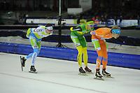 SCHAATSEN: HEERENVEEN: 25-10-2014, IJsstadion Thialf, Marathonschaatsen, KPN Marathon Cup 2, Peter van de Pol (#93), Thom van Beek (#49), Jorrit Bergsma (#13), ©foto Martin de Jong