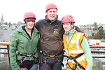 Michelle Mooney and Margaret Rafferty who abseiled off the roof of the D Hotel to raise money for Drogheda Animal Rescue with Thomas McArdle of Carlingford Adventure Centre...Picture Jenny Matthews/Newsfile.ie