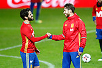 Spain's Isco Alarcon (l) and Sergio Ramos during training session. March 23,2017.(ALTERPHOTOS/Acero)