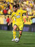 Alejandro Moreno dribbles during MLS Cup 2008. Columbus Crew defeated the New York Red Bulls, 3-1, Sunday, November 23, 2008. Photo by John Todd/isiphotos.com