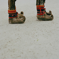 Sami boots made from reindeer skin, Lapland, Sweden