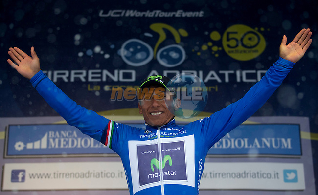 Nairo Quintana (COL) Movistar Team wins Stage 5 on a snowy summit of Terminillo after 197km and takes over the leader's jersey of the 2015 Tirreno-Adriatico cycle race, Italy. 15th March 2015. <br /> Photo: ANSA/Claudio Peri/www.newsfile.ie