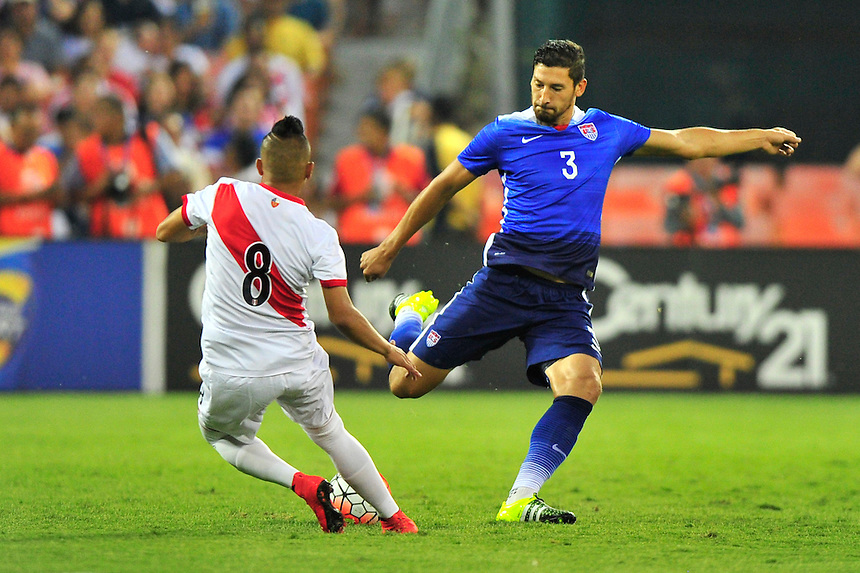 Omar Gonzalez of US winds up for kick. USA defeated Peru 2-1 during a Friendly Match at the RFK Stadium in Washington, D.C. on Friday, September 4, 2015.  Alan P. Santos/DC Sports Box