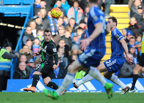 05.03.2016. Stamford Bridge, London, England. Barclays Premier League. Chelsea versus Stoke City. Stoke City Midfielder Xherdan Shaqiri crosses into the Chelsea area