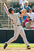 Michael Ohlman #12 of the Delmarva Shorebirds follows through on his swing against the Kannapolis Intimidators at Fieldcrest Cannon Stadium on May 22, 2011 in Kannapolis, North Carolina.   Photo by Brian Westerholt / Four Seam Images
