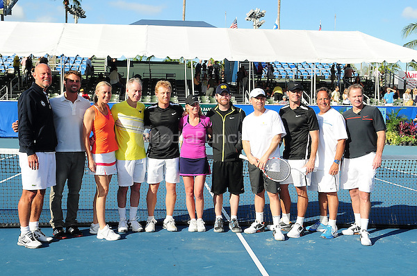 DELRAY BEACH, FL - NOVEMBER 13:(L-R) Murphy Jensen, Jan Michael Gambill, Rennae Stubbs, John McEnroe, Kevin McKidd, Chris Evert, David Cook, Christian Slater, Scott Foley, Jon Lovitz and Patrick McEnroe attends the Chris Evert/Raymond James Pro-Celebrity Tennis Classic at Delray Beach Tennis Center on November 13, 2011 in Delray Beach, Florida. (photo by: MPI10/MediaPunch Inc.)