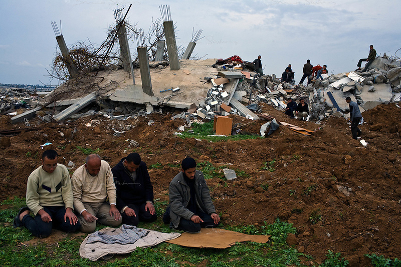 Beit Hanoun, Gaza Strip, Jan 19 2009.The Israeli army came to the Hamad family houses on January 5th at 4 am, ordering the entire families to leave immediately by foot on the nearby Salahedin road and then destroyed the houses entirely, simply because they stood less than a kilometer from the Erez crossing. .