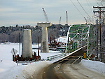 Construction of a new bridge over the Kennebec River, looking West. Richmond, Sagadahoc County, Maine, USA
