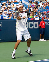 Marcos Baghdatis hits a forehand during the Legg Mason Tennis Classic at the William H.G. FitzGerald Tennis Center in Washington, DC.  David Nalbandian defeated Marcos Baghdatis in straight sets in the finals Sunday afternoon.
