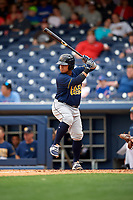 New Orleans Baby Cakes catcher Ramon Cabrera (38) at bat during a game against the Nashville Sounds on April 30, 2017 at First Tennessee Park in Nashville, Tennessee.  The game was postponed due to inclement weather in the fourth inning.  (Mike Janes/Four Seam Images)