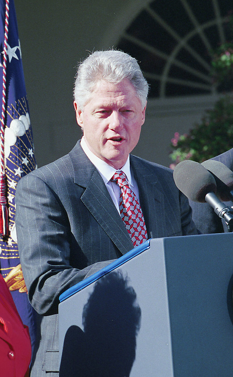 3-30-99.SOCIAL SECURITY-- President Bill Clinton during a Social Security press conference at the White House Rose Garden..CONGRESSIONAL QUARTERLY PHOTO BY DOUGLAS GRAHAM